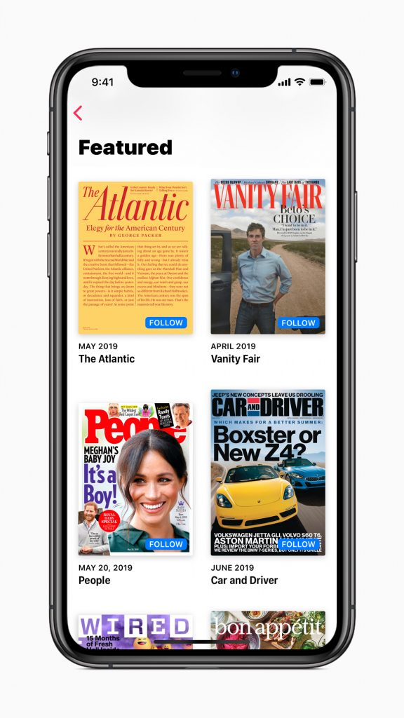 Apple News Volg knop